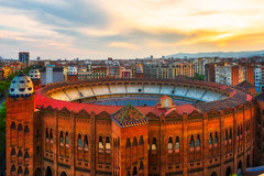 Take me back to BARCELONA (NicoTrinkhaus) Tags: green barcelona spain view architecture hdr hdrphotography sunset red brick catalonia la monumental bullfighting arena cityscape city clouds color building window