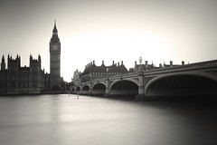 Timeless (chris.ph) Tags: monochrome longexposure blackandwhite affinityphoto london clock bigben thames lamppost parliament bridge water canon6d