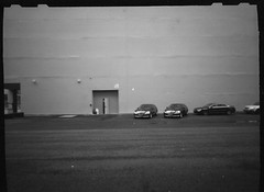 Cars & Wall (dongga BS) Tags: auto blackandwhite car wall mercedes benz basel pinhole schwarzweiss ilford zeroimage baselworld pinholeday ilfordpanf50 zero6x12f
