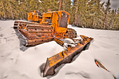 Weathered Workhorse (Ragingterror) Tags: tractor oregon surreal skiresort mthood plow hdr timberline governmentcamp tonemapped 5dmkii sigmadc816mm