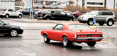 Eliminator (Redneck Photos) Tags: auto old orange classic ford car vintage smog traffic mercury muscle smoke rear vehicle spotted cougar eliminator hugger worldcars