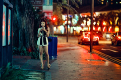 Let's Meet At Maxwell's (Jon Siegel) Tags: street light woman reflection beautiful fashion night corner lights nikon singapore waiting phone dress f14 85mm mobilephone nikkor maxwells singaporean 85mm14 d700 nikkor85mmf14afd