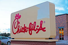 Chick-fil-A sign (ezeiza) Tags: arizona food brick chicken sign restaurant drive fastfood fast az flagstaff drivethru through drivethrough chickfila thru