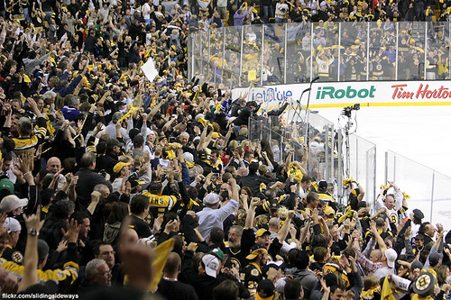 crowd celebration after Bruins overtime goal