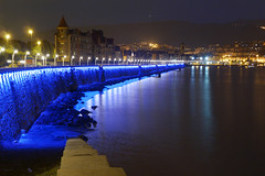 City lights in Getxo (Mimadeo) Tags: city sea water colors night buildings reflections dawn lights colorful cityscape dusk basque basquecountry mirroring getxo