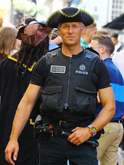 Standard issue police hat on Pirate Day ;) (Graham  Sodhachin) Tags: police hastings 2016 pirateday hastingspirateday
