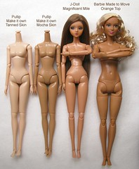 1:6 scale doll skin color tone comparison (Wisteria floribunda) Tags: pullip make it own tanned mocha skin jdoll magnificent mile made move barbie body miniature doll 16 scale groove mattel