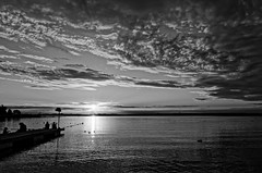 Sunset, Lake Dabie, Western Poland, August 2016. (TomasLudwik) Tags: lake jezioro dabie stettin subset evening bw blackandwhite