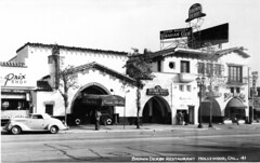 The Brown Derby Restaurant (jericl cat) Tags: vine street hollywood 1929 brown derby restaurant postcard highres history neon sign entrance rooftop scaffold bamboo room canadian club satyr books prix park hiram walkers spanish architecture lost demolished past