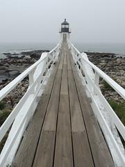 Marshall Point Light (Anita363) Tags: marshallpointlighthouse marshallpointlight portclyde maine me lighthouse boardwalk railing vanishingpoint fog foggy