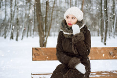 Red on White (ZlataMarka) Tags: young beautiful woman girl portrait red lips lipstick white snow winter photo
