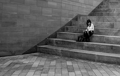 girl (Chilanga Cement) Tags: fuji fujix100t x100t xseries x100s x100 bw blackandwhite street streetphotography liverpool liverpoolstreetphotography liverbuilding concrete steps girl angles lines