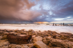 Driftwood (Michael Waterhouse Photography) Tags: port willunga sunset storm jetty ruins ocean southaustralia beach rocks sea water waves clouds weather