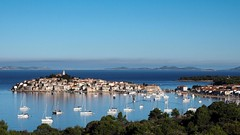 Primoten (sramses177) Tags: sibenik primosten adriaticcoast adria croatia kroatien vacation urlaub village town cityscape landscape ships yacht sea light blue boats church tower houses buildings sun mediterranean mittelmeer explore waterfront shore seaside coast beach water