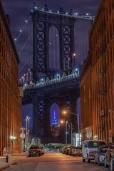 Classic (karinavera) Tags: travel nikond5300 newyork night car brooklyn street urban empirestate cityscape manhattan longexposure bridge view city