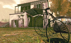 """Tricycle and olive bread."" (LoneSolitarian) Tags: second life secondlife sl virtual dark light shadow art firestorm gimp photography windlight photo sim 3d nature landscape scenery beauty romance serene"