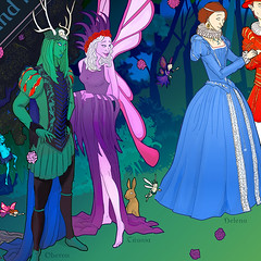 Shakespeare / Tang Xianzu silk scarf (Jason Pym) Tags: shakespeare tang xianzu scarf silk illustration midsummer nights dream peony pavilion