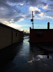 Morning (Single-Tooth Productions) Tags: morninglight sunrise morningintherain aftertherain reflections shadows chiaroscuro composition shapes lines colorblocks architecture utilitylines lightanddark e52ndstindianapolis indiana urban city iphone 6s iphone6s