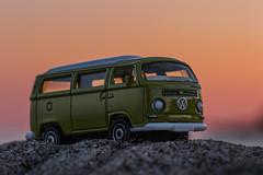 beach bus (Marc McDermott) Tags: matchbox macromondays planestrainsandautomobiles vw t2 bus toy car beach sky sand sunset volkswagen