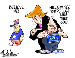0916 deplorable cartoon (DSL art and photos) Tags: editorialcartoon donlee pettypolitics trump hillary basketofdeplorables racism discrimination campaign election presidential 2016