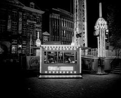 Tickets to the tower (Jan Mulders) Tags: mamiya 7ii 7 funfair den bosch shertogenbosch black white medium format 6x7 night dark lights stand ride fair high iso netherlands