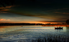 Anglers on the lake. (augustynbatko) Tags: anglers lake landscape water sky clouds outdoor summer autumn boats polska