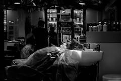 Shampoo (Pierre Pichot) Tags: black blackwhite blackandwhite city cluj contrast fuji fujifilm hair hairdresser light monochrome napoca parlour pichot pierre portrait romania shadows shampoo shop street streetphotography streets urban white woman x100t