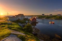Sunset at the cove (Alec_Hickman) Tags: cove water bay sea ocean atlantic canada novascotia peggyscove sun boats houses village