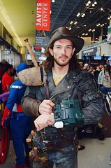 DSC_0551 (Randsom) Tags: nycc 2016 newyorkcomiccon nycomiccon javitscenter october nyc newyorkcity cosplay costume fun comicbooks comicconvention hunk handsome guy male man leather smile mustache jacket sexy browneyes brunette college youth