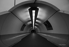 T3 CDG AM (plvision) Tags: terminal3 airport tunnel france cdg charlesdegaulle btw noiretblanc blackandwhite photography photographie dark terminal aeroport architecture tube t3