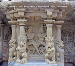 The Lord as Kirata (Hunter) testing the Pandava Arjuna @ Kailasanathar Temple , Kanchipuram. (Kapaliadiyar) Tags: kapaliadiyar nikond810 kanchipuram kailasanathar kailasanathartemple arjuna hunter kirata pallava pallavaarchitecture pallaveswaram rajasimha rajasimhapallaveswaram sculptures sculpture sandstone column outdoor ancient hindutemple dravidianarchitecture architecture vedavathi vedavathiriver stonework