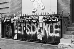 David Bowie memorial (Jim Davies) Tags: photography analogue film veebotique 35mm olympus om10 50mm slr 400asa monochrome analog kodak bw400cn chromogenic c41 nyc newyorkcity usa america city metropolis manhattan soho wuzwuz bowie memorial