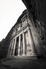 The Treasury - Petra, Jordan (M. Khatib) Tags: petra treasury jordan rock mountain desert archeology ancient unesco heritage wideangle blackandwhite monochrome