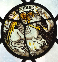winged bull of St Luke (Simon_K) Tags: ely cathedral cambridgeshire cambs eastanglia stained glass window saint