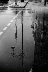 Scheinbar (Rubina V.) Tags: berlin laternen monochrom reflexionen regen streetphotography strassen street lantern rain blackwhite reflection