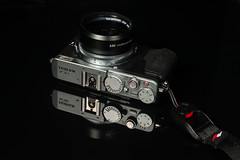 Fujifilm X70 (PaulHoo) Tags: closeup macro product still photography reflection black chrome fujifilm x70 advertising peak design wrist 2016 gear equipment camera
