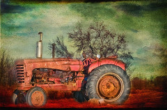 Tractor in the Field (jta1950) Tags: painterly texture field grass rural countryside rust antique country tires oldtractor renquedochan