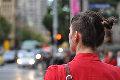 Easy Right, Sharp Left (Smith-Bob) Tags: street ladies red people woman haircut lady cool waiting crossing dof close bokeh candid shaved melbourne wait left lookleft