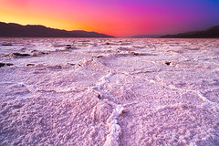 A Fire at Badwater (Sairam Sundaresan) Tags: california longexposure blue light sunset cliff color colour feet nature water colors lines canon landscape death long glow colours salt bad dramatic cliffs valley 5d deathvalley canon5d cracks lowest saltflats badwater luminosity 282 sairam faultlines canon5dmarkiii 5dmarkiii sairamsundaresan