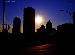 Steel City Silhouette (JayCass84) Tags: pittsburgh pennsylvania 412 steelcity steel uss ussteel sky sun skyline skylines urbanskyline silhouette skyshots skyshot building buildings urbanlandscape landscape street streetview streetphotography urban urbanphotography urbanstreetphotography blue purple orange city cityskyline cities light lightpost post road beautiful beautifulskies beautifulsky awesome awesomeskies instagram instagramapp camera vscocamapp vsocam