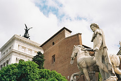 santa maria in aracoeli (Andrew Ridley) Tags: travel sky italy horse sun rome color colour roma tree film church statue clouds analog 35mm spring europe italia cathedral kodak roman weddingcake may analogue yashica santamariainaracoeli yashicaelectro35 yashicaelectro35gx altarofthefatherland 2013 kodakektar100