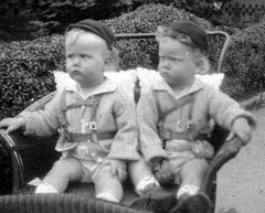 The terrible twosome :) 1946 (Cassi J) Tags: bw vintage fraternaltwins vintagephotographs