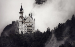 imagination creates reality (cherryspicks (intermittently on/off)) Tags: neuschwanstein castle schloss bavaria germany landmark disney fog mist atmosphere architecture forest trees ludwigiiofbavaria fairytale sleepingbeauty richardwagner travel art outdoor weather