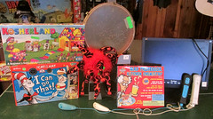 20150523 - yardsale haul - IMG_0438 - the take (Rev. Xanatos Satanicos Bombasticos (ClintJCL)) Tags: 20150523 201505 2015 yardsale yardsale20150523 virginia alexandria clintandcarolynshouse upstairs controller wiicontroller wiimote monitor viewsonicmonitor viewsonicvs10866monitor viewsonicvs10866 viewsonic drum bongo bongodrum bin game boardgame drseuss drseussgame drseussboardgame thecatinthehat thecatinthehatgame thecatinthehatboardgame icandothat icandothatgame icandothatboardgame entertainment book books thecatinthehatbook bookthecatinthehat kosherland kosherlandgame kosherlandboardgame chemistryset set chemistry hat jesterhat