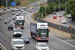 Identical Stobarts.... (stavioni) Tags: m4 reading motorway eddie stobart truck trailer esl rail tesco less co2 container h6939 6945 amanda s daisy louise pf14lcc pf14lbu