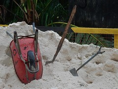 Barrow and Tools (mikecogh) Tags: funafuti tuvalu sand pile wheelbarrow shovel spade tools