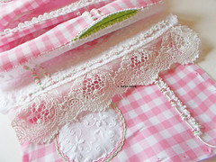 gingham and seams (contemporary embroidery) Tags: gingham embroidery seams pockets frenchknots lace applique