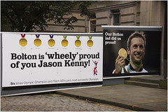 Bolton Town Hall Jason Kenny hoardings 2016 (Pitheadgear) Tags: teamgb bolton boltonfooddrinkfestival boltonfoodfestival lancashire uk jasonkenny olympics rio2016 olympics2016 cycling cycleracing athletes gold goldmedal medallists