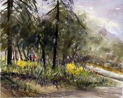 The Monastery (Sherry Schmidt) Tags: art painting pleinair watercolor watercolour landscape trees pine yellow painters religious sierramadre california city retreat