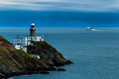 Howth Lighthouse and the boat (The_big_Fabisky) Tags: blue lighthouse seaside seascape landscape ireland boat howth dublin cliffwalk